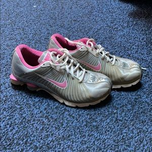 Pink and Silver Nike Shox Experience Plus +